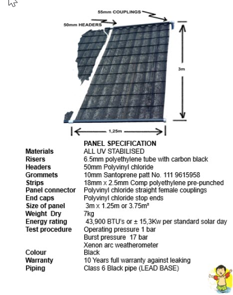 solnet pool heating panel specification